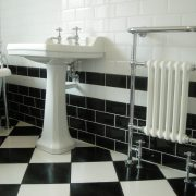 high quality silver chrome plumbing in a bathroom